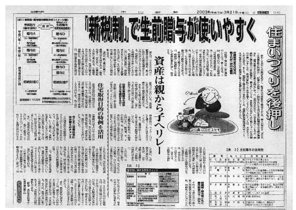 中日新聞2003年3月21日号
