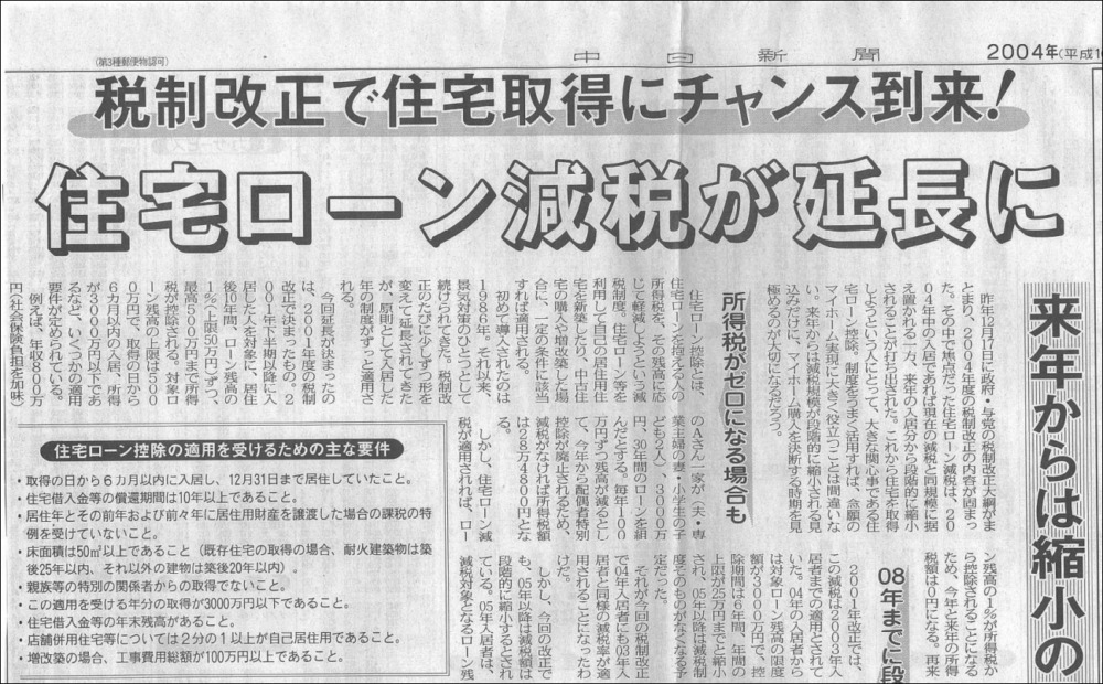 中日新聞2004年1月